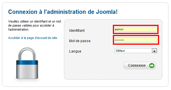 Identification Joomla